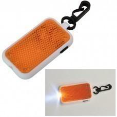 Светоотражатель на карабине с фонариком; оранжевый, 4х6,8х1см, пластик