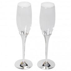 """Бокалы для шампанского """"Crystal"""" (2шт), D=6,8см, Н=25,2см, стекло, посеребренный металл,лаковое покр"""