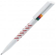 GRIFFE ARCOBALENO, ручка шариковая, белый, разноцветные колечки, пластик