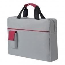 """Конференц-сумка """"Sense""""; серый с красным; 37х27x8 см; полиэстер; шелкография"""