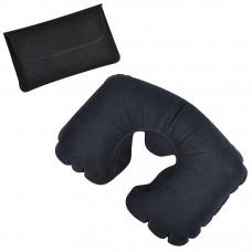Подушка надувная дорожная в футляре; черный; 43,5х27,5 см; твил; шелкография