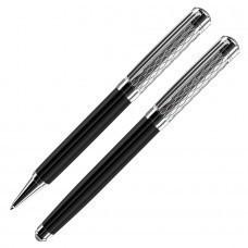 CASTLE, набор:ручка шариковая и ручка-роллер (без футляра), черный/хром, металл