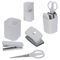 """Набор """"Офисный гаджет"""";  4 предмета, , белый, 7*7*17 см; пластик; тампопечать"""