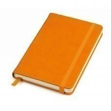 """Бизнес-блокнот """"Casual"""", 130*210 мм, оранжев, твердая обложка,  резинка 7 мм, блок-линейка, тиснение"""
