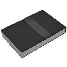"""Визитница """"Меридиан""""; черный; 9,5х6,4х1,6 см; иск. кожа, металл; лазерная гравировка"""