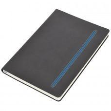 """Бизнес-блокнот А5  """"Elegance"""",  серый  с синей вставкой, мягкая обложка,  в клетку"""