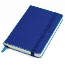 "Бизнес-блокнот ""Casual"", 130*210 мм, синий, твердая обложка,  резинка 7 мм, блок-линейка, тиснение"