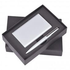 """Набор """"Mirror"""": универсальное зарядное устройство (6000мАh) и ручка, серебристый, 17,5х11х4см,металл"""
