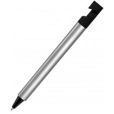 N5, ручка шариковая, серебристый/черный, пластик, металлизир. напыление, подставка для смартфона