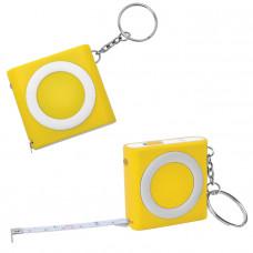 Брелок-рулетка (1м) с фонариком; желтая, 5х5х1,2см, пластик