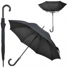 """Зонт-трость """"Anti Wind"""", полуавтомат, деревянная ручка, черный; D=103 см"""