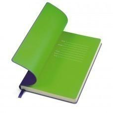 """Бизнес-блокнот """"Funky"""" фиолетовый с зеленым форзацем, мягкая обложка,  линейка"""