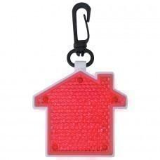 "Светоотражатель с фонариком на карабине ""Дом"", красный, 5,2х5,5х1,1см, пластик"