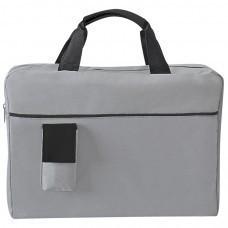 """Конференц-сумка """"Sense""""; серый с черным; 37х27x8 см; полиэстер; шелкография"""