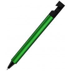 N5, ручка шариковая, зеленый/черный, пластик, металлизир. напыление, подставка для смартфона