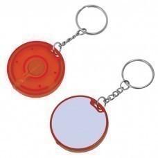 Брелок-фонарик; белый с красным, 4,3х4,3х0,7см, пластик