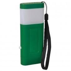 Фонарь с двумя режимами подсветки (2*3 LED); зеленый; 12,1x4,8x2 см; пластик; тампопечать