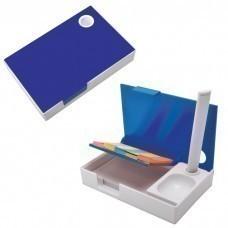 "Набор канцелярский ""Handy"":ручка,блокнот и листочки для записи post-it, белый с синим, 10,1х6,5х1,8с"
