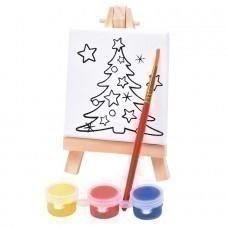 "Набор для раскраски ""Ёлочка"":холст,мольберт,кисть, краски 3шт, 7,5х12,5х2 см, дерево, холст"
