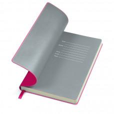 """Бизнес-блокнот """"Funky"""" розовый с серым форзацем, мягкая обложка,  линейка"""