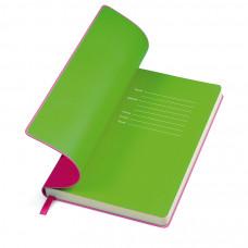 """Бизнес-блокнот """"Funky"""" розовый с  зеленым  форзацем, мягкая обложка,  линейка"""