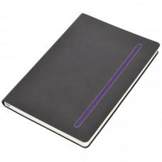 """Бизнес-блокнот А5  """"Elegance"""",  серый  с фиолетовой вставкой, мягкая обложка,  в клетку"""
