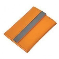 Футляр для карт; 20 кармашков; оранжевый; 10,7х8,5х1,8 см; иск. кожа, металл; лазерная гравировка