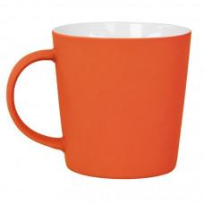"""Кружка """"Bali"""" с прорезиненным покрытием, оранжевый, 400 мл, фарфор"""
