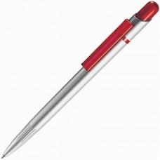 MIR SAT, ручка шариковая, прозрачный красный/серебристый, пластик