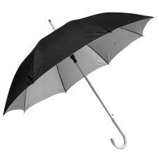 """Зонт-трость с пластиковой ручкой """"под алюминий"""" """"Silver"""", полуавтомат; черный с серебром; D=103 см;"""