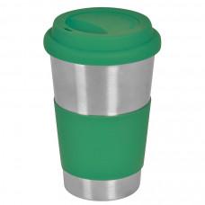 """Термокружка  """"Утро""""; 350 мл;  зеленый, металл/силикон; лазерная гравировка"""