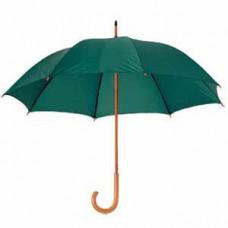 Зонт-трость механический, деревянная ручка, нейлон, D=105, зелёный