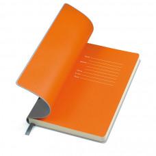 """Бизнес-блокнот """"Funky"""", 130*210 мм, серый,  оранжевый форзац, мягкая обложка, блок-линейка"""