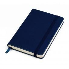 "Бизнес-блокнот ""Casual"", 130*210 мм, темно-синий, твердая обложка,  резинка 7 мм, линейка, тиснение"