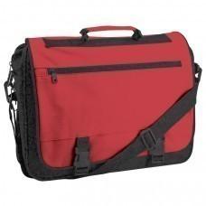 """Конференц-сумка """"Expo""""; черный с красным; 39х29х9 см; полиэстер; шелкография"""