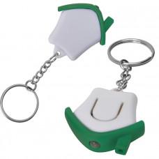 "Брелок-фонарик ""Дом""; белый с зеленым, 3,5х3,5х1см, пластик"