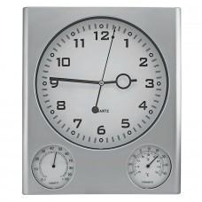 Часы настенные с термометром и гигрометром; 26,6х3,1х31,1 см; пластик; без элементов питания