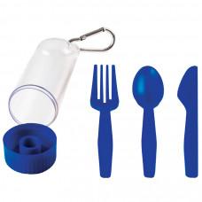 """Набор """"Pocket"""":ложка,вилка,нож в футляре с карабином, синий, 4,2х15см,пластик"""