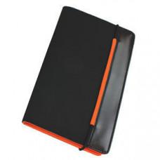 "Визитница ""New Style"" на резинке  (60 визиток) черный с оранжевым; 19,8х12х2 см; нейлон;"