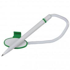FOX SAFE TOUCH, ручка шариковая с держателем, зеленый/белый, антибактериальный пластик