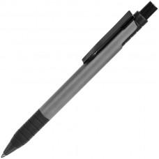 TOWER, ручка шариковая с грипом, темно-серый/черный, металл/прорезиненная поверхность
