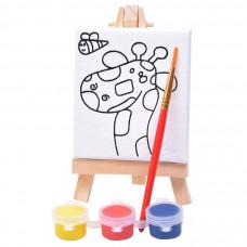 "Набор для раскраски ""Жираф"":холст,мольберт,кисть, краски 3шт, 7,5х12,5х2 см, дерево, холст"