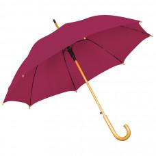 Зонт-трость с деревянной ручкой, полуавтомат; бордовый; D=103 см, L=90см; нейлон; шелкография