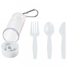 "Набор ""Pocket"":ложка,вилка,нож в футляре с карабином, белый, 4,2х15см,пластик"