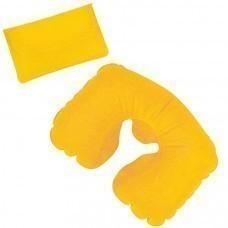 Подушка надувная дорожная в футляре; желтый; 43,5х27,5 см; твил; шелкография