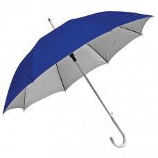 """Зонт-трость с пластиковой ручкой """"под алюминий"""" """"Silver"""", полуавтомат; синий с серебром; D=103 см;"""