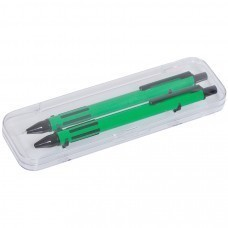FUTURE, набор ручка и карандаш в прозрачном футляре, зеленый, пластик