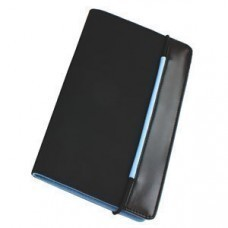 "Визитница ""New Style"" на резинке  (60 визиток),  черный с голубым; 19,8х12х2 см; нейлон;"