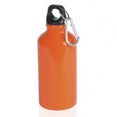 """Бутылка для воды """"Mento"""", алюминиевая, с карабином, 400 мл., оранжевый"""