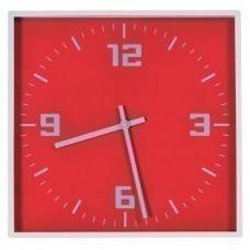 """Часы настенные """"КВАДРАТ""""; красный, 30*30 см; пластик; без элементов питания"""